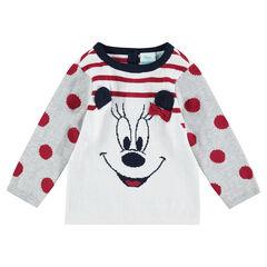Pull en tricot avec rayures et motif Minnie en jacquard ©Disney