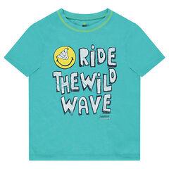 Junior - Tee-shirt manches courtes en jersey avec message et ©Smiley printé
