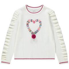 Pull en tricot avec volants et coeur brodé sur le devant