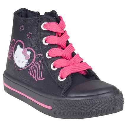Baskets montantes noires et roses Hello Kitty