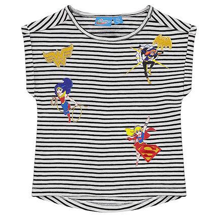 Tee-shirt manches courtes rayé avec patchs DC Comics Superwoman
