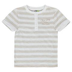 Tee-shirt manches courtes en jersey rayé avec inscription printée