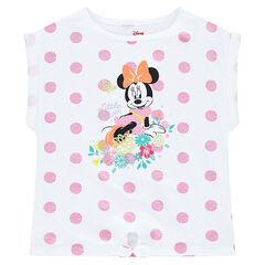 Tee-shirt manches courtes forme boîte ©Disney print Minnie à pois all-over