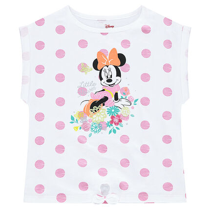 Tee-shirt manches courtes forme boîte ©Disney print Minnie à pois all-over