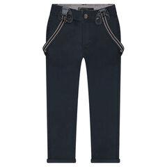 Pantalon en twill à bretelles élastiquées amovibles