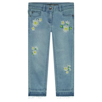 Jeans effet délavé avec fleurs brodées