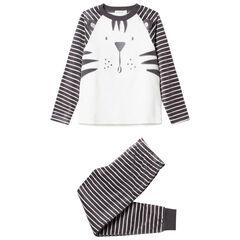Pyjama en velours motif tigre à rayures
