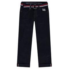 Pantalon effet crinkle avec ceinture tressée amovible à rayures colorées