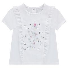 Tee-shirt manches courtes en jersey avec volants et fleurs printées