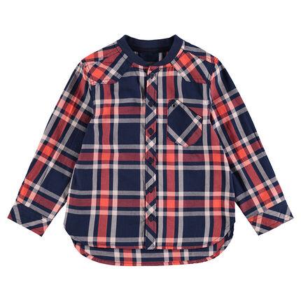 Chemise à larges carreaux contrastés et col esprit teddy