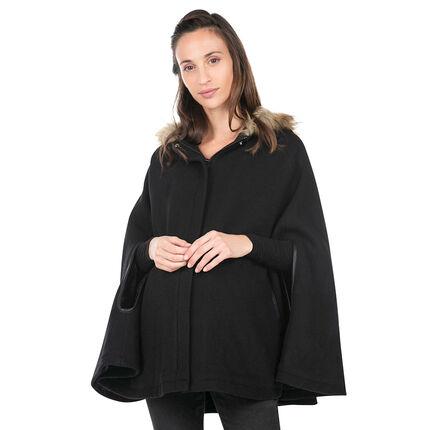 Manteau de grossesse en drap de lain forme cape