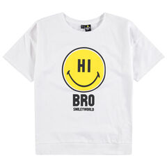 Junior - T-shirt manches courtes uni print Smiley
