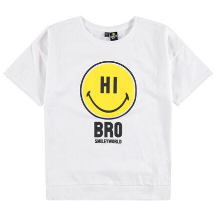 Junior - T-shirt manches courtes uni print Smiley