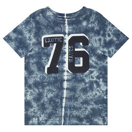 Junior - Tee-shirt en jersey effet shibori avec chiffres printés