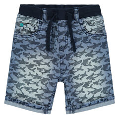 Bermuda en jeans avec requins imprimés all-over