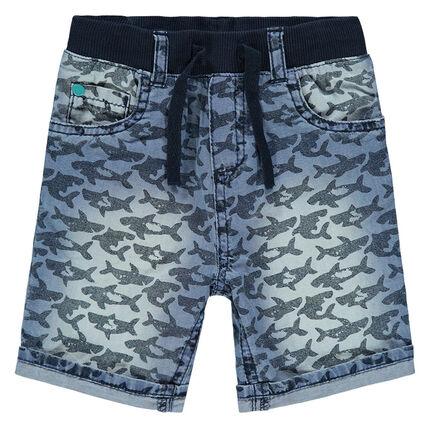 Bermuda en jeans avec requins imprimés all-over