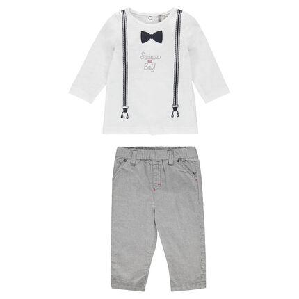 Ensemble tee-shirt manches longues avec bretelles printées et pantalon rayé