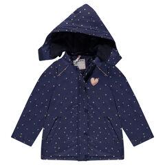 Parka en gomme à capuche amovible doublée sherpa avec étoiles all-over