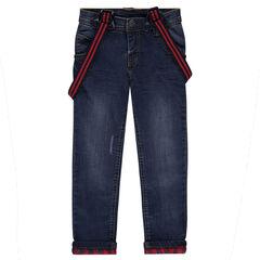 Jeans droit fitté effet used doublé flanelle