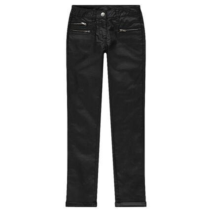 Junior - Pantalon slim enduit avec zips