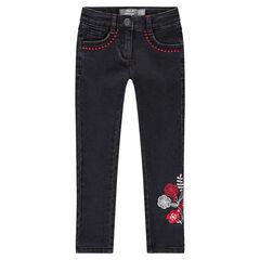 Jeans stretch coupe slim avec fleurs et frises brodées