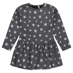 Junior - Robe manches longues avec étoiles all-over