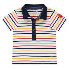 Polo manches courtes avec rayures contrastées et badge patché
