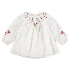 Tunique en coton fantaisie avec broderies et motifs printés