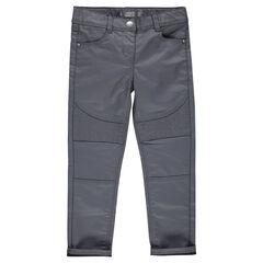 Junior - Jeans slim enduit avec jeu de surpiqûres