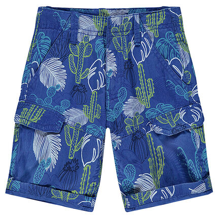 Bermuda en twill à poches imprimé végétal