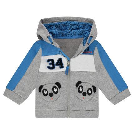 Gilet en molleton à capuche avec poches forme panda