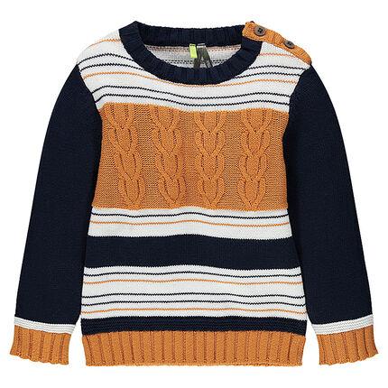Pull en tricot à rayures jacquard et jeu de mailles torsadées
