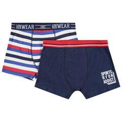 Lot de 2 boxers en coton à rayures et print