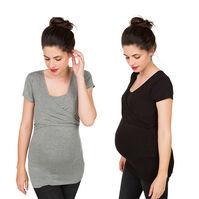 Lot de 2 tee-shirts manches courtes de grossesse et d'allaitement