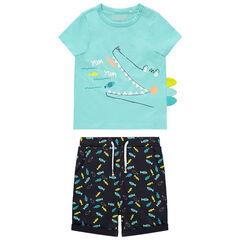 Ensemble avec t-shirt print crocodile et bermuda imprimé poissons , Orchestra