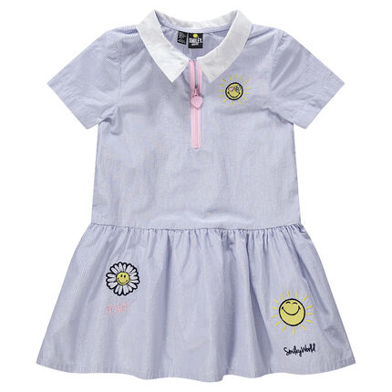Robe manches courtes à fines rayures irisées et broderies Smiley