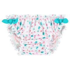 Culotte de bain avec imprimé fantaisie et noeuds