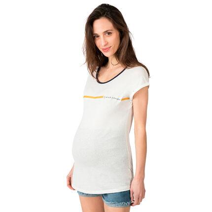Tee-shirt manches courtes de grossesse avec rayure contrastée