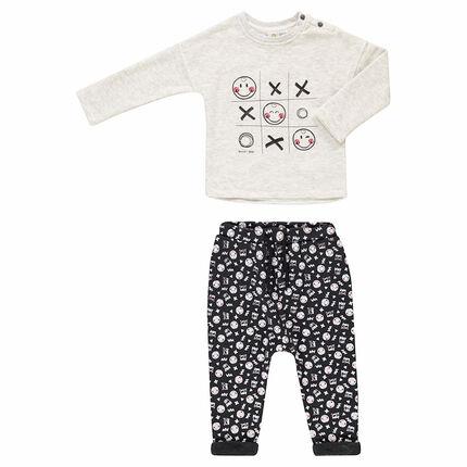 Jogging avec tee-shirt print ©Smiley et pantalon en molleton doublé sherpa