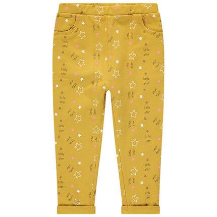 Pantalon en coton à imprimé fantaisie all-over