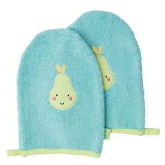Set de 2 gants de toilette avec patch fruit