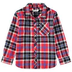 Chemise manches longues en flanelle à carreaux et poche