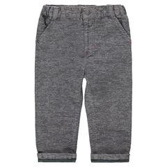 Pantalon en coton chiné doublé jersey