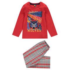 Pyjama avec print loup et pantalon à carreaux en popeline