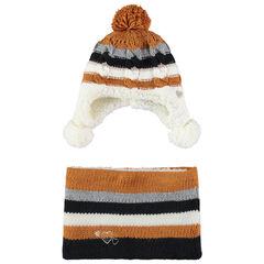 Ensemble bonnet et snood en tricot doublés sherpa