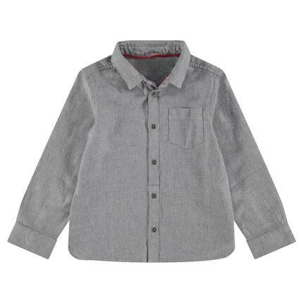 Chemise manches longues en coton piqué avec poche