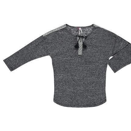 Junior - Tee-shirt manches 3/4 avec empiècements etniques et pompons