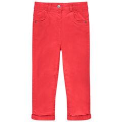 Pantalon rouge uni en twill doublé jersey et poches forme chat