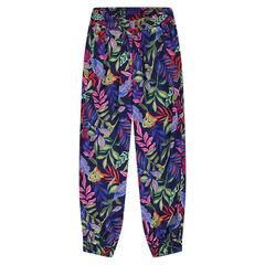 Pantalon fluide imprimé jungle all-over