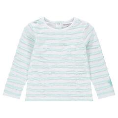 tee-shirt manches longues avec rayures en relief et étoile patchée